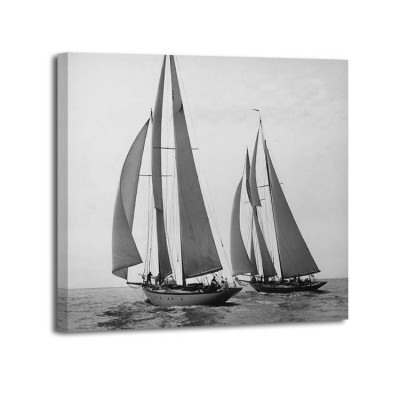 Edwin Levick - Sailboats Race during Yacht Club Cruise