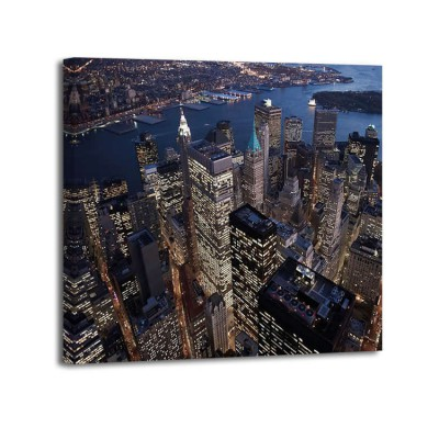 Cameron Davidson - Night areal view of the Financial District NYC