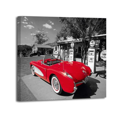 Kerrick James - Red 1957 Corvette at vintage gas station